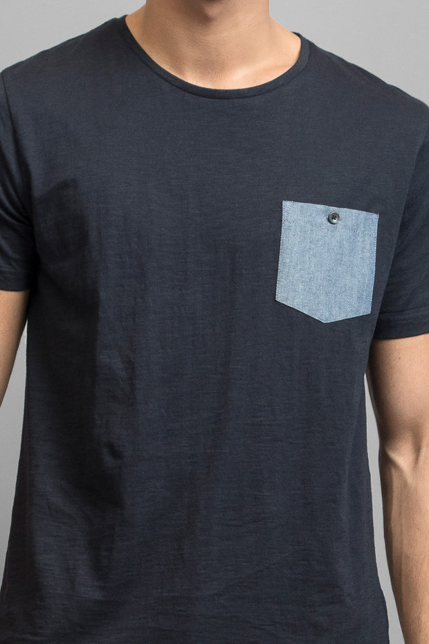 Navy W/ Denim Blue Pocket T-Shirt