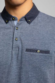 Navy Polka Dot Collar Pique Polo
