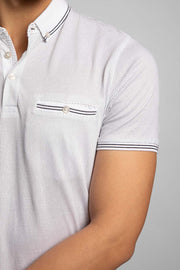 White Micro Dot Printed Polo