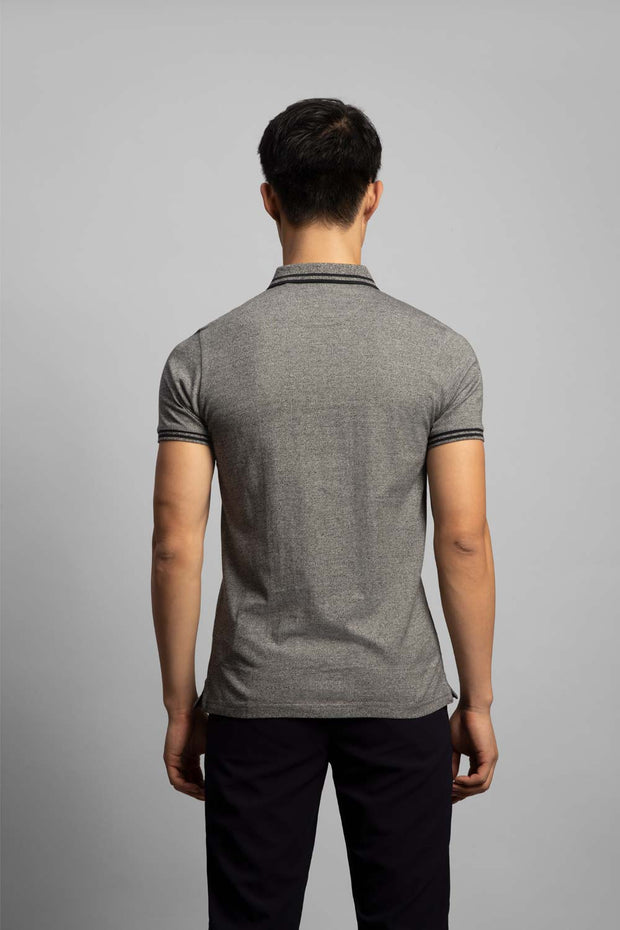 Grey Washed Zip Up Polo