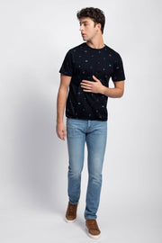 Navy Summer Print T-Shirt