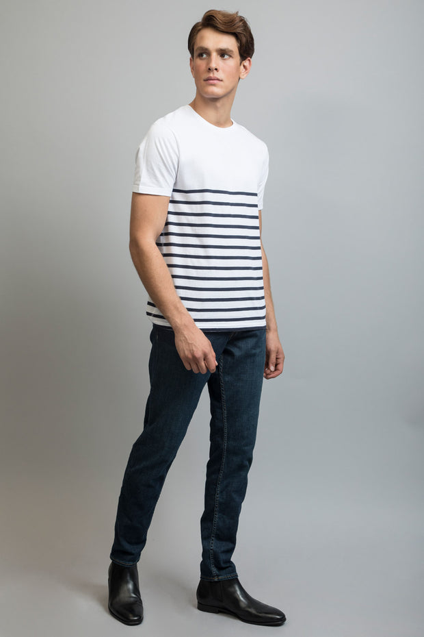 White T-Shirt W/Navy Stripes