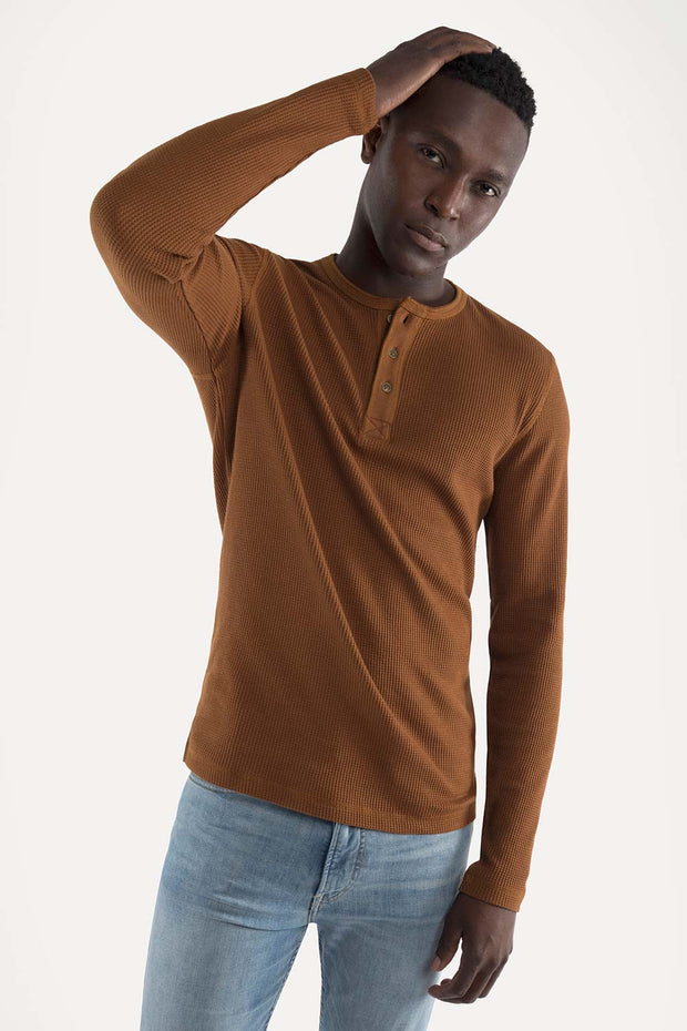 Brown Crewneck Pullover Waffle Knit