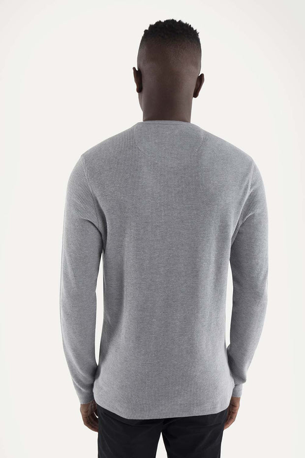 Gray Crewneck Pullover Waffle Knit