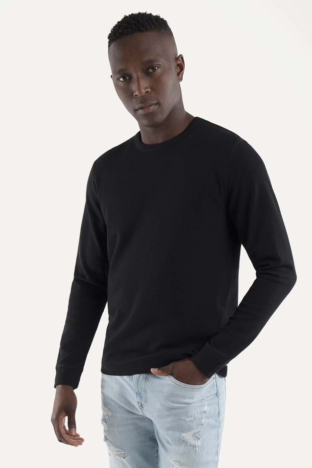 Black Pullover Crewneck Waffle Knit