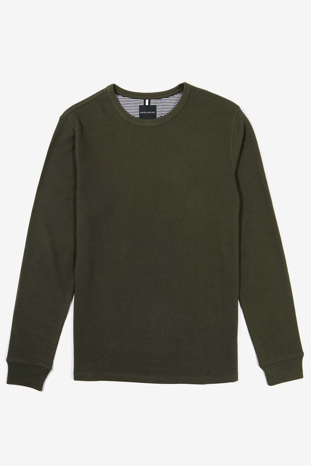 Dark Olive Pullover Waffle Knit
