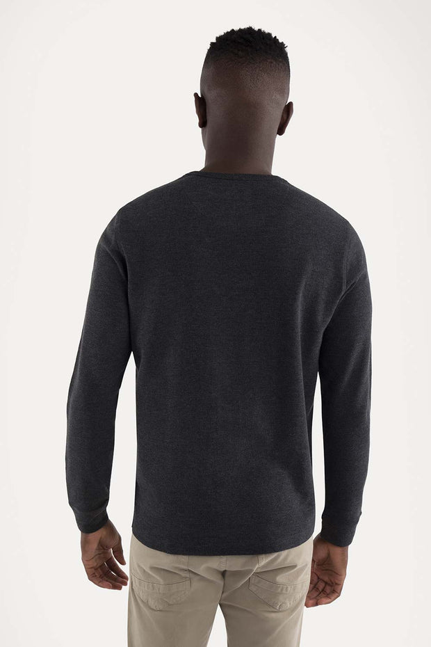 Charcoal/Gray Pullover Waffle Knit