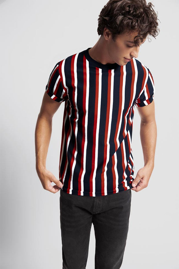 Navy T-Shirt W/ Red & White Stripes