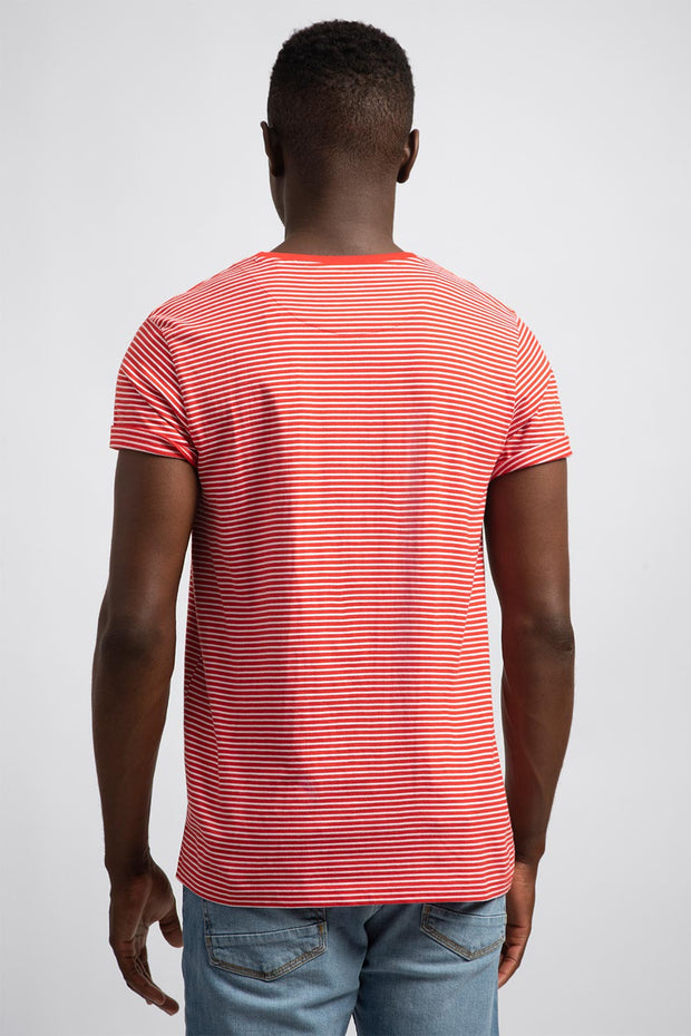 White & Red Stripe T-Shirt