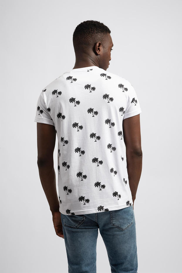 White T-Shirt W/ Black Palm Trees