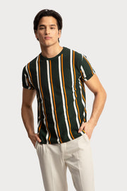 Green Vertical Striped T-Shirt