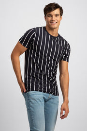 Navy Jersey Striped Knit T-Shirt