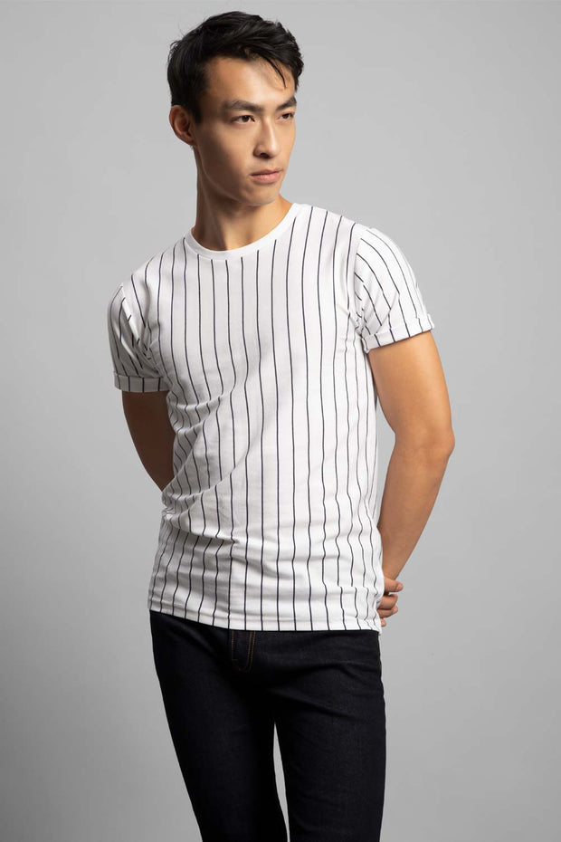 White & Navy Pinstripes T-Shirt