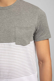 Soft White W/Gray Double Stripes T-Shirt