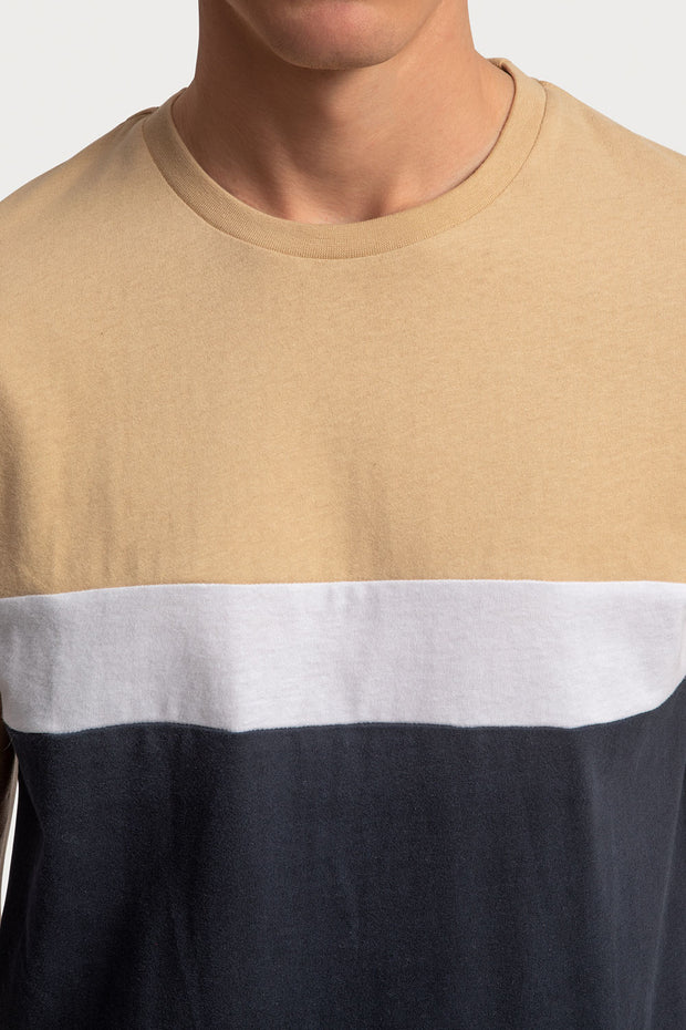 Cream Color Block T-Shirt