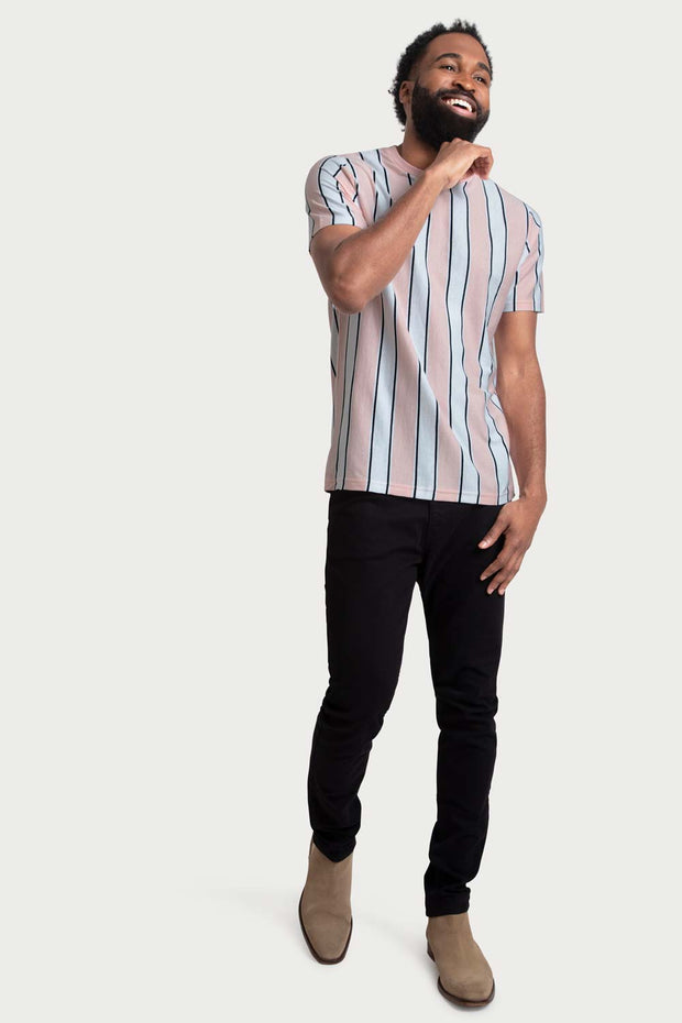 Trichromatic Vertical Stripe T-Shirt