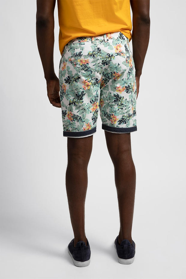 White Stretch Shorts W/ Aqua Floral