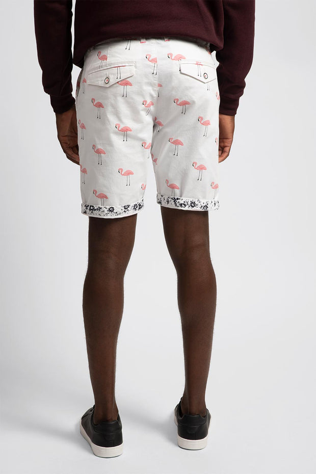 White Flamingo Stretch Shorts