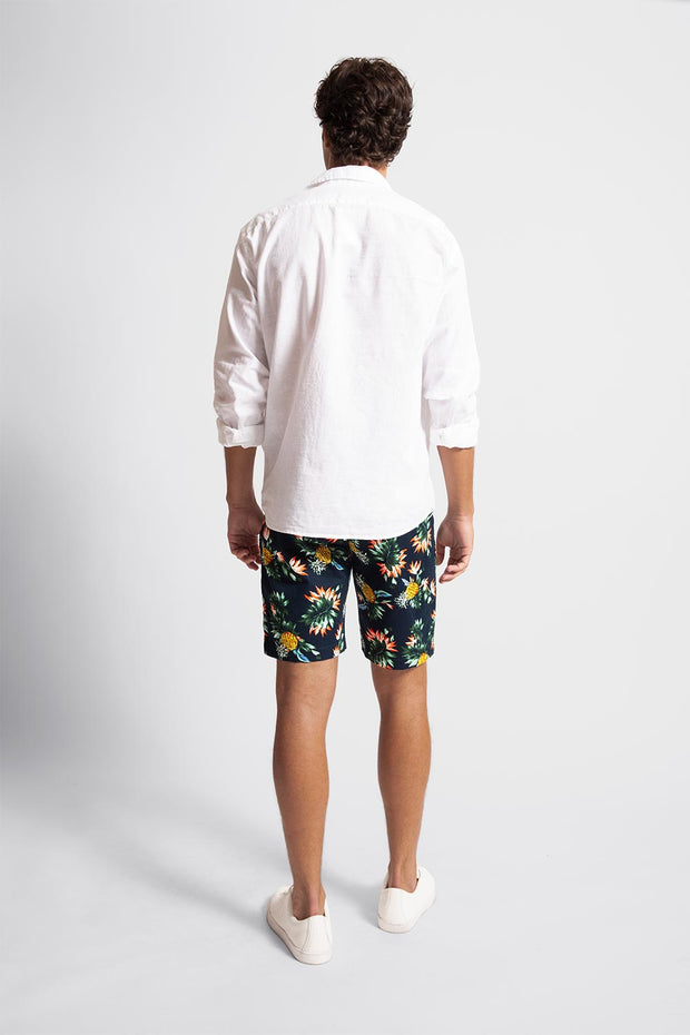 Navy Floral & Pineapple Stretch Shorts