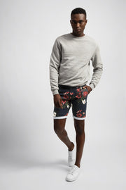 Navy Shorts W/ Red & White Floral