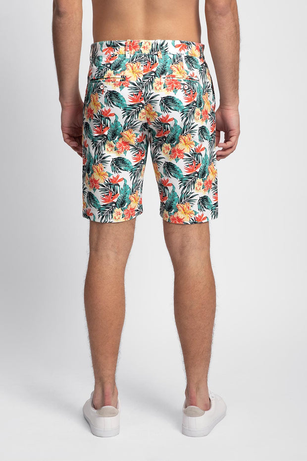 Teal & Orange Floral Stretch Shorts