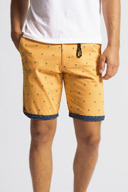 Yellow & Blue Palm Trees Stretch Shorts