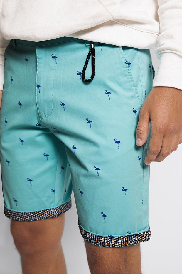 Aqua W/ Blue Flamingo Stretch Shorts