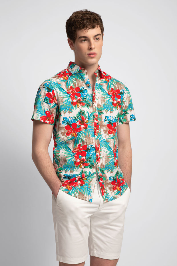 Red & Aqua Tropical Printed Shirt