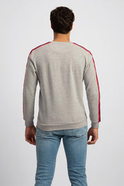 Grey Ribbed Neck Sweatshirt
