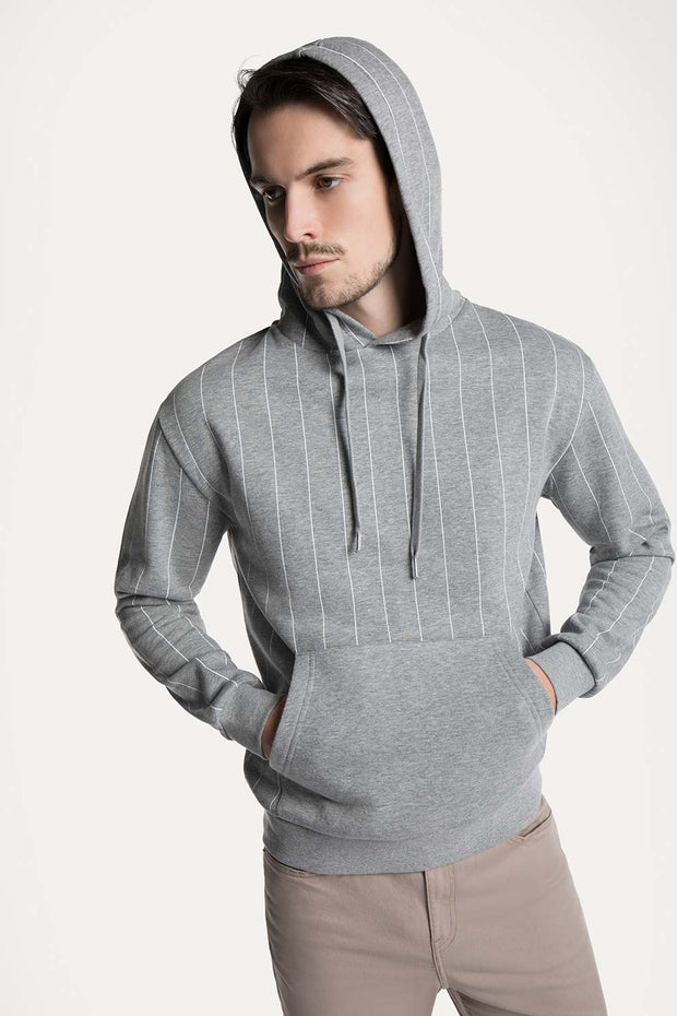 Gray & White Striped Hooded Pullover