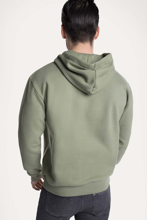 Olive Green Hooded Pullover
