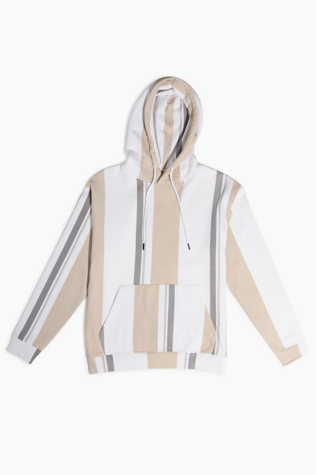 White & Khaki Hooded Pullover