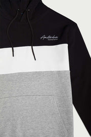 Black/White Color Block Hooded Pullover