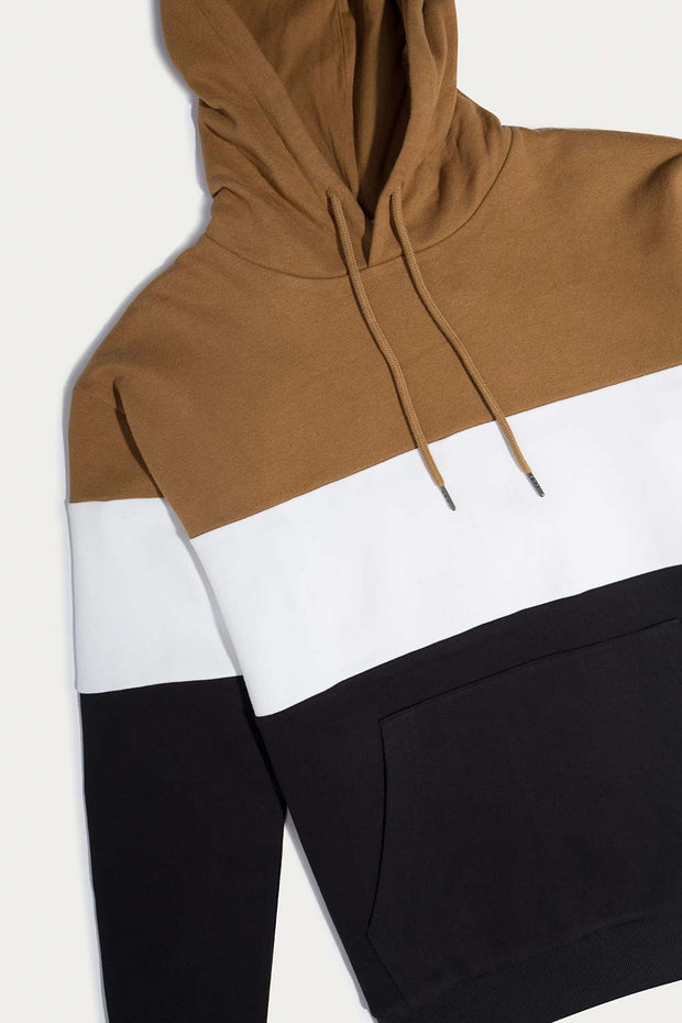 Brown Color Block Hooded Pullover