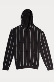 Black Striped Hooded Pullover