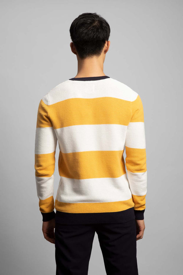 Yellow & White Striped Sweater