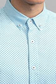 Light Blue Polka Dot Print Shirt