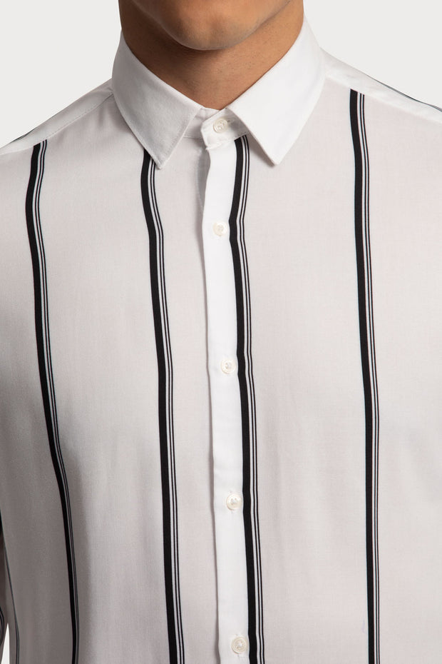 Black Striped Viscose Shirt