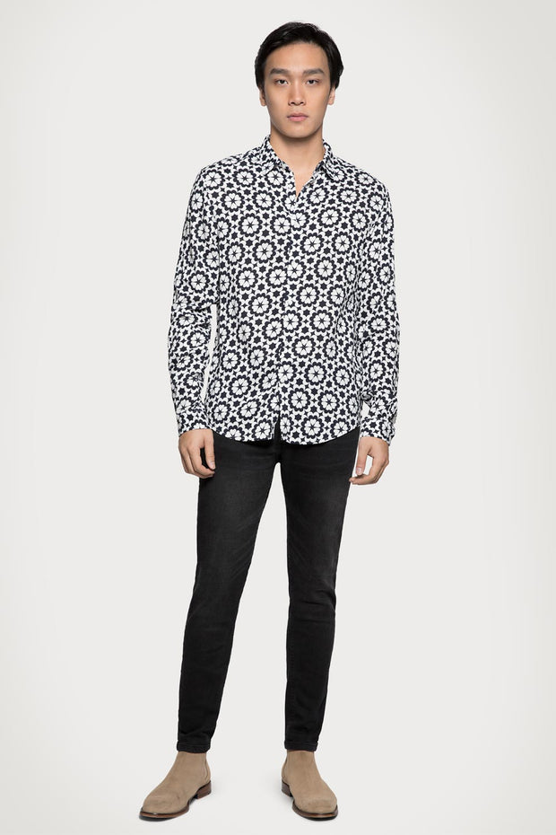 Black & White Floral Viscose Shirt