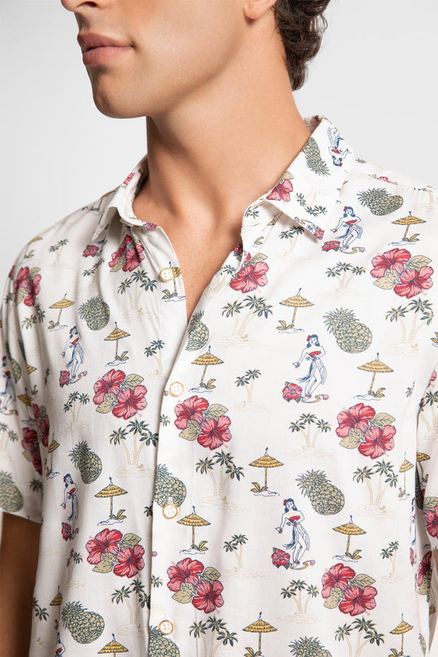 Hawaiian Floral Print Viscose Shirt