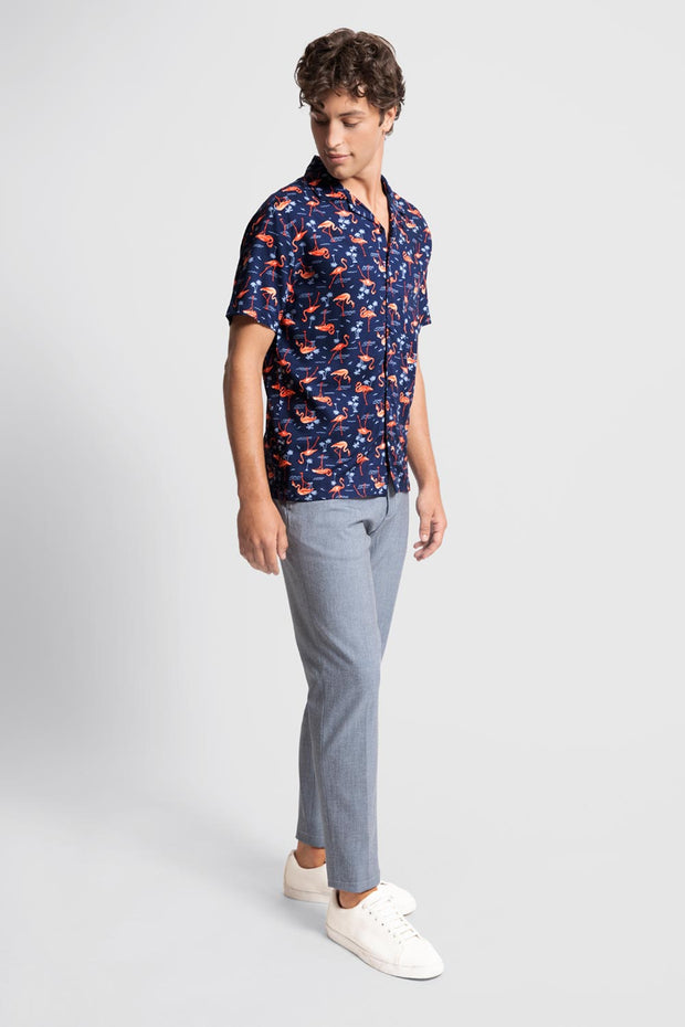 Flamingo Print Viscose Shirt