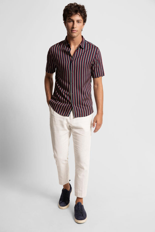 Red & Cream Striped Viscose Shirt