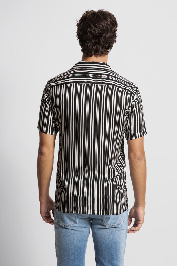 White & Black Striped Viscose Shirt