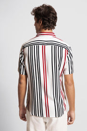 Navy & Red Vertical Striped Viscose Shirt