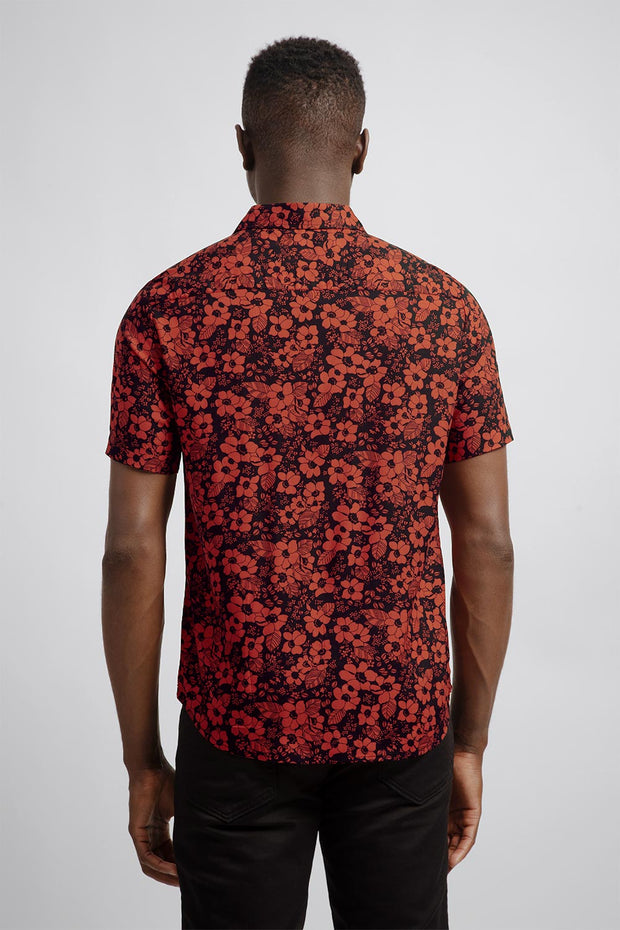 Black & Red Floral Viscose Shirt
