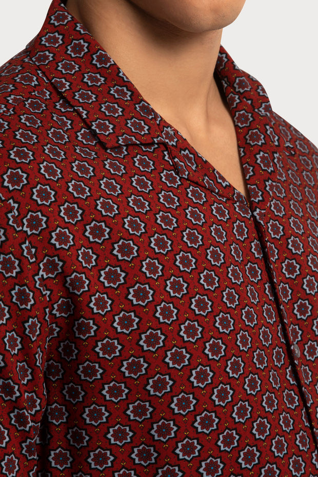 Orange Geo Print Viscose Shirt