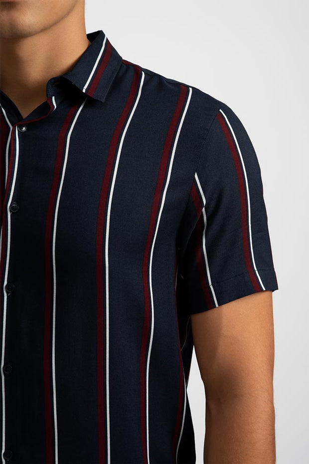 Navy Vintage Striped Viscose Shirt
