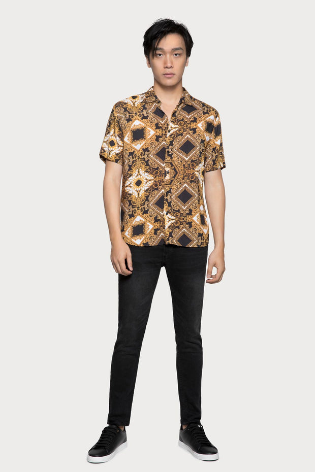 Black & Gold Jacquard Print Viscose Shirt