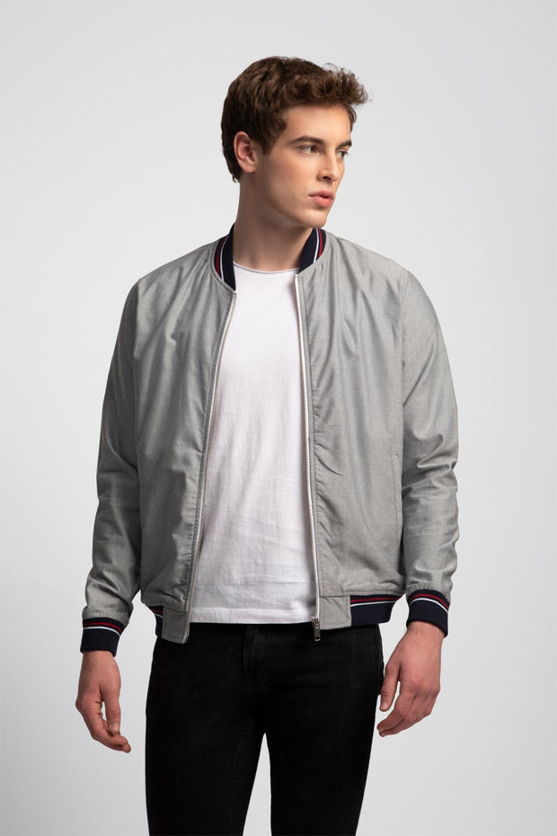 Gray Bomber Jacket