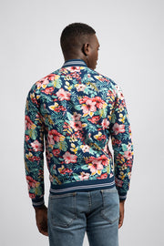Blue Bomber Jacket W/Green & Pink Florals